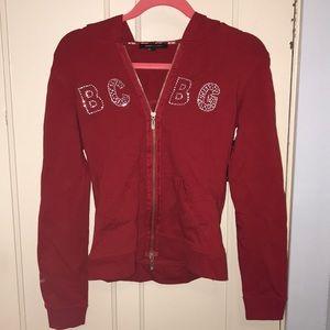 BCBG red zip up hoodie jacket